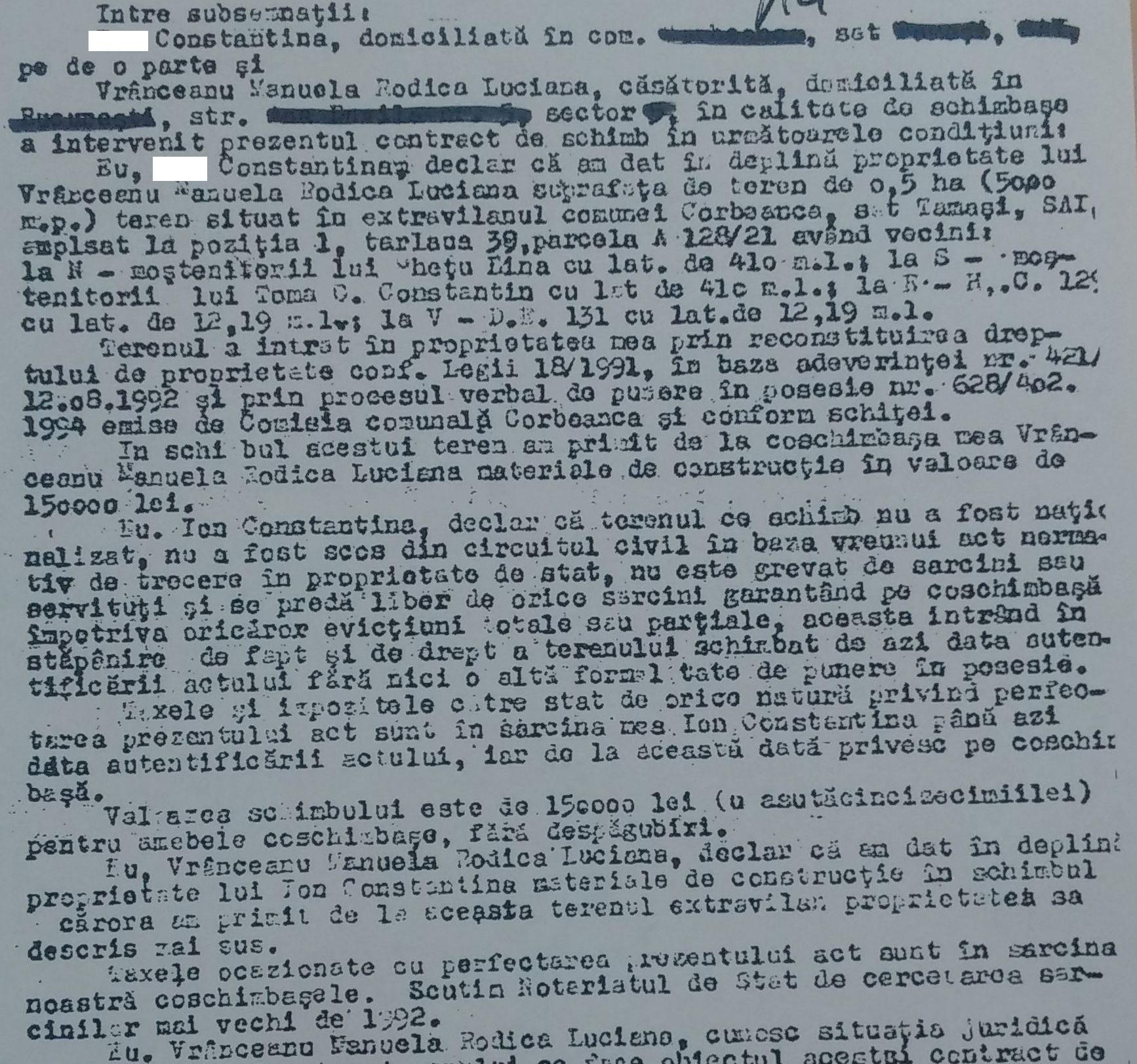 Contract de schimb între soția lui Țânțăreanu și un fost proprietar de teren pe care a fost ridicat Paradisul Verde